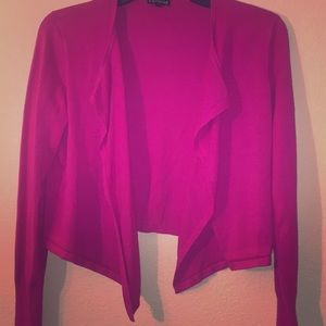 Hot pink crop cardigan from express